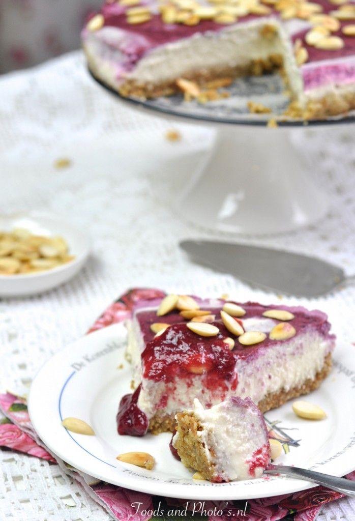 Raw vegan cheesecake  zuivelvrij, glucosevrij en suikervrij