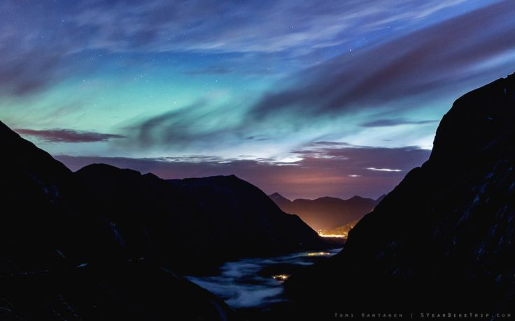 5-year bike trip, day 76: I didn't think I'd be seeing auroras this far south, and in such an incredible setting. (Trollstigen, Norway)