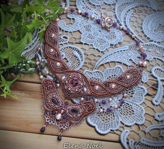 Amethyst necklace with a beautiful butterfly Necklace by ElenNoel