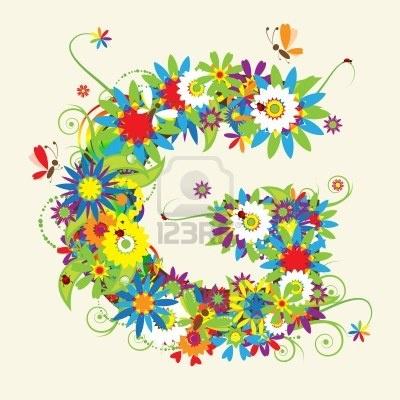 Letter G, flora... G Design Letter
