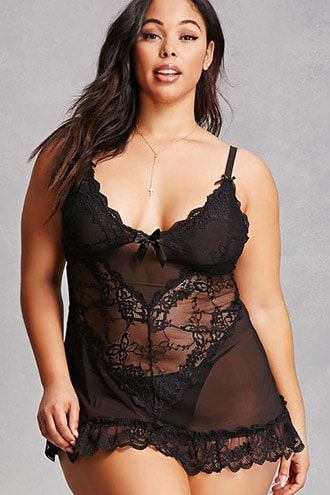 Forever 21+ - A lingerie set by Oh La La Cheri™ featuring a sheer mesh knit robe with eyelash lace trim, a satin sash belt, an interior self-tie, and long bell sleeves, as well as a sheer mesh G-string thong with front eyelash lace trim.