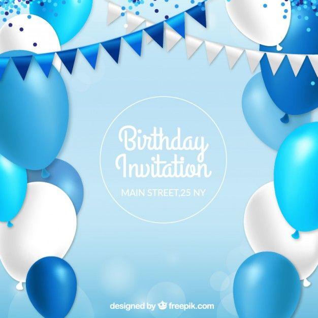 Приглашение на день рождения с синими шарами Бесплатные векторы