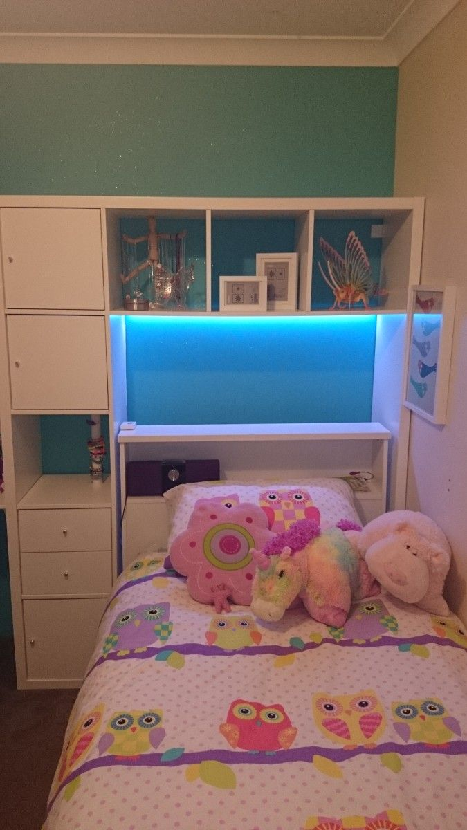 Ikea hackers LAPPLAND TV unit as headboard and storage for Mali