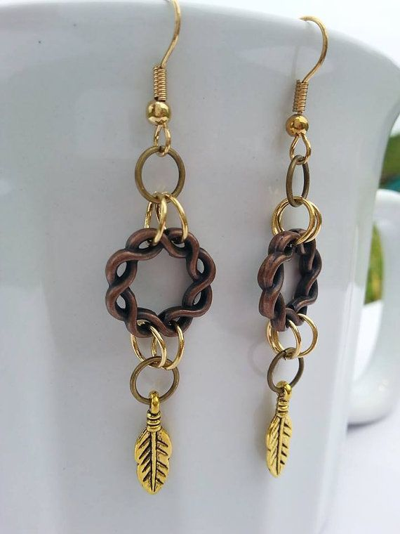Celtic circle mixed metal nickel free earrings by LockedAndLoved #Celtic #circle…