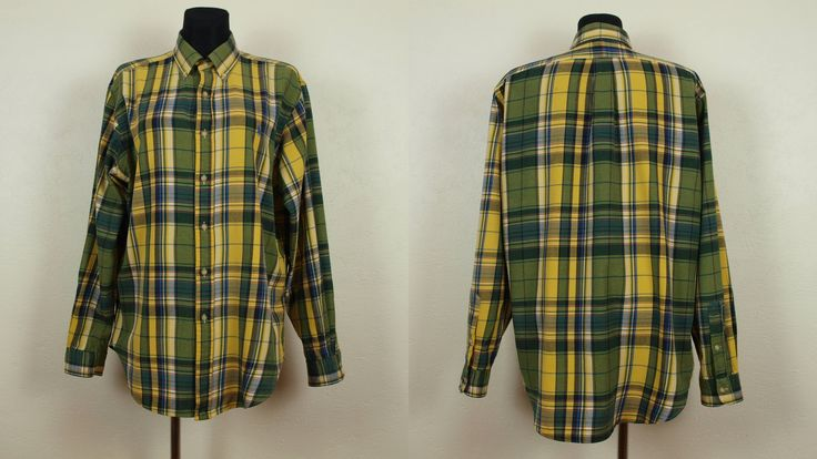 Ralph Lauren oxford shirt, Size Classic fit Men's L Women's XXL, Yellow and green check and plaids shirt, 100% Cotton Made in India by SillyPurpleZephyre on Etsy