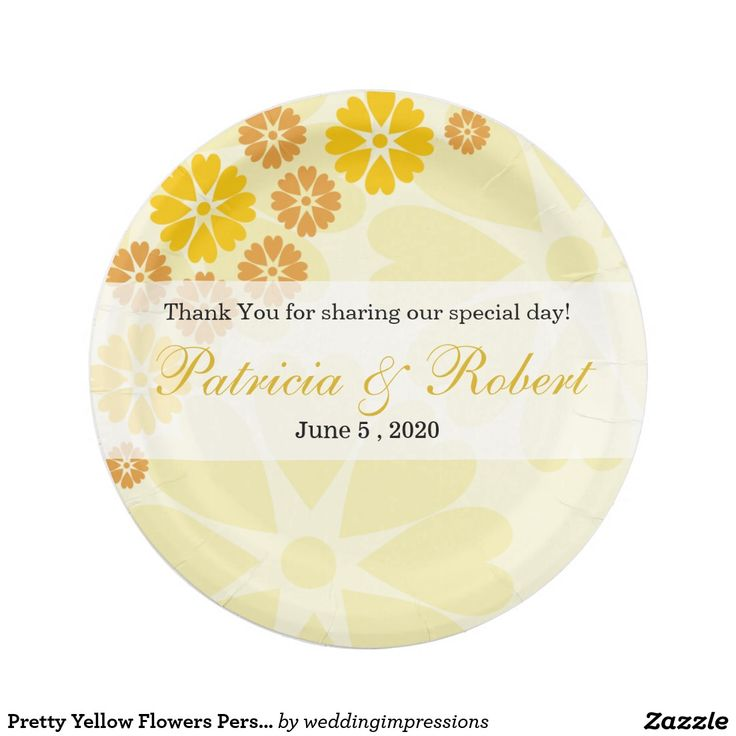 Pretty Yellow Flowers Personalized Wedding Paper Plate