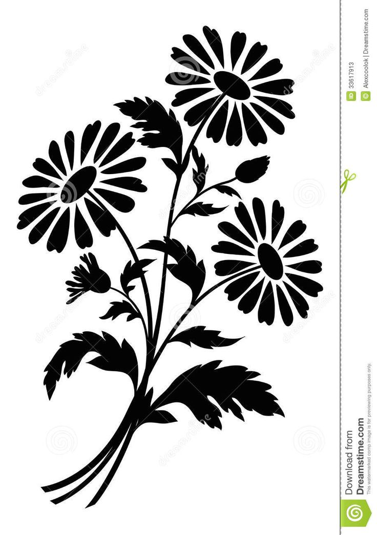 Flowers For > Black And White Flower Bouquet Clipart ...