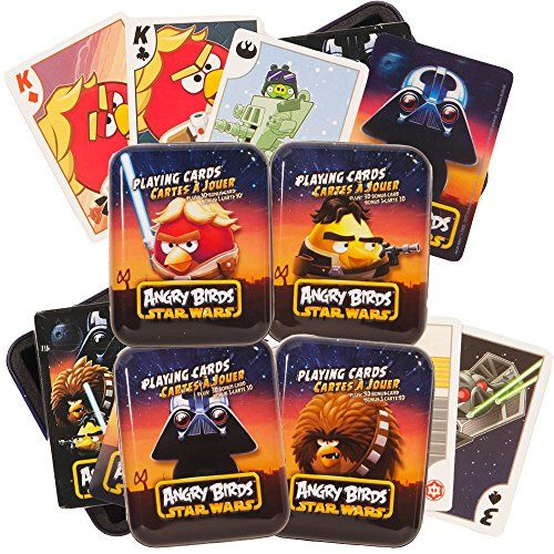 Angry Birds Star Wars Playing Cards Set  4 Decks in Collector Tins Featuring Luke Skywalker Darth Vader Han Solo and Chewbacca ** Read more  at the image link.