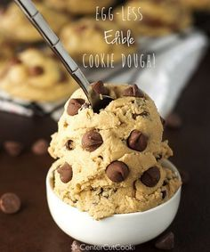 Edible Egg-less Chocolate Chip Cookie dough is safe to eat, right out of the bowl! No baking required! Rich, gooey, yummy cookie dough!