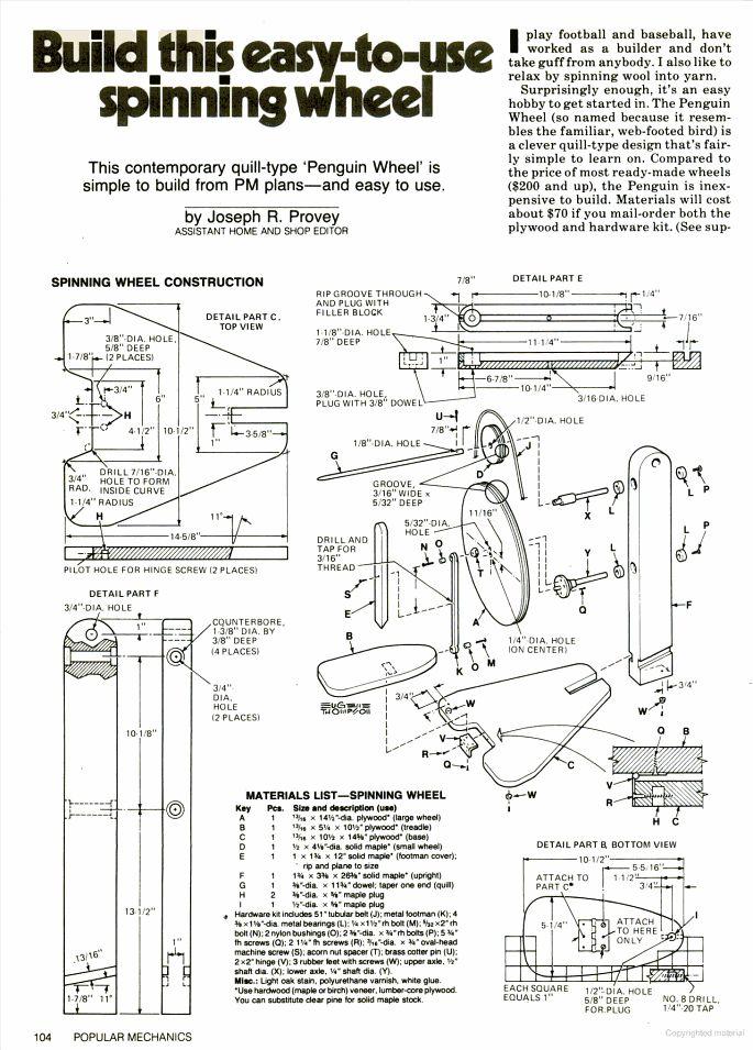 Popular Mechanics plan for quill spinning wheel