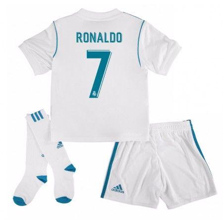 Real Madrid Cristiano Ronaldo 7 Hjemmebanesæt Børn 17-18 Kort ærmer #Billige Fodboldtrøjer