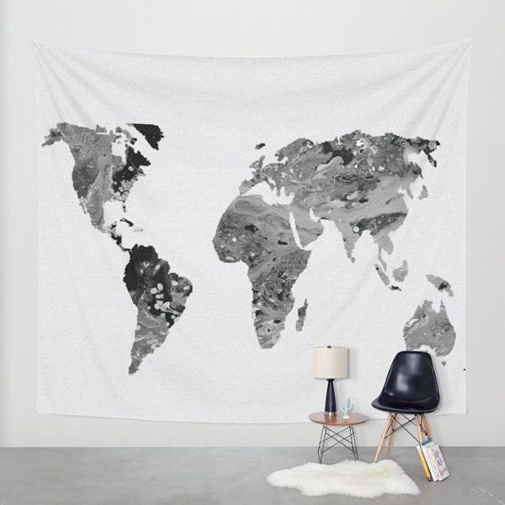 Wall Tapestry - Hanging Tapestry - Abstract Acrylic Painting Black and White World Map – Black and white - Art-Home decor-Made to order