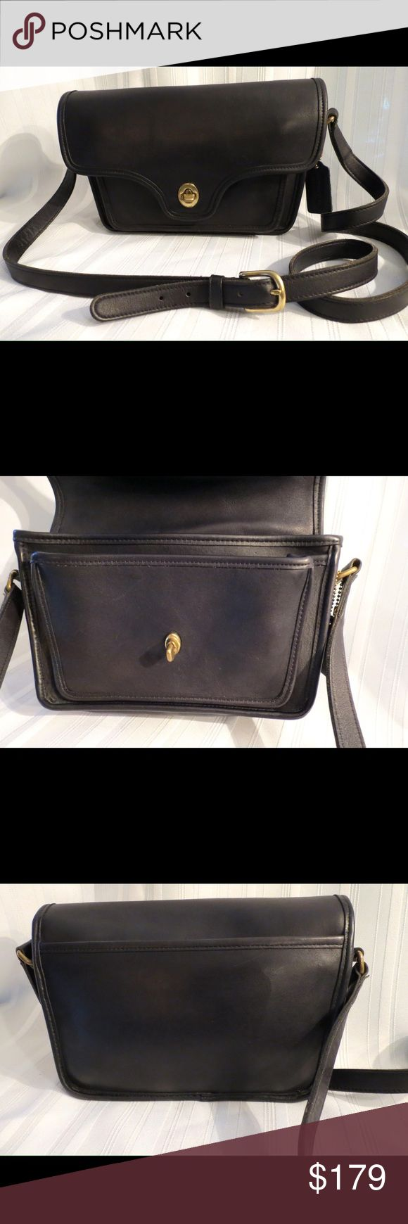 """COACH Vintage Kent Messenger Crossbody BAG USA Leather 9916 Made In USA Black Cross Body Bag  Excellent Gently Used Condition The leather and bag is pretty much perfect the grass kiss lock shows wear, you can actually get one free from Coach if you like a new one all you pay is shipping. All of my items are absolutely positively guaranteed 100% genuine, I do not sell FAKE anything!  9916     Height: 6""""  Width: 10""""  Depth: 3""""  Strap Drop: 20""""  a bit more as it is adjustable  No Trades (S080)…"""