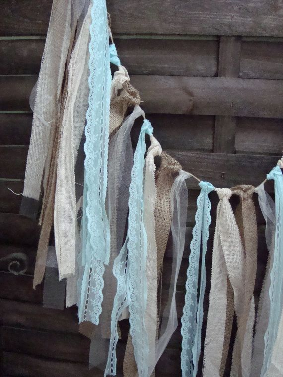 5 ft Rustic aqua blue garland, burlap garland, Wedding prop, home decor, rag bunting, fabric banner, shabby shic garland, aqua lace strips