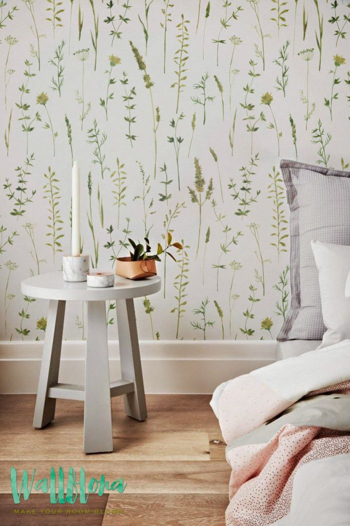 DESCRIPTION Transform any room in your home into a floral paradise with this adhesive wallpaper! This vinyl wallpaper features a print of watercolour siluets wa