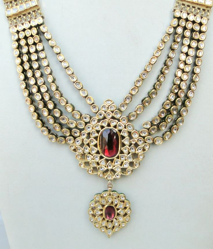 GOLD DIAMOND POLKI KUNDAN ENAMEL WORK NECKLACE RAJASTHAN IND