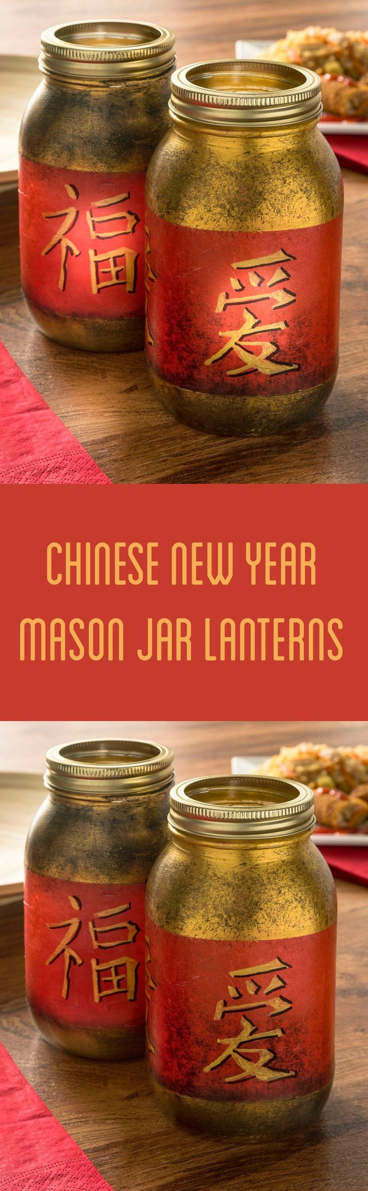 Turn regular mason jars into a fun Chinese New Year craft with tissue paper, paint, and Mod Podge. These are perfect for a themed party! @TaiPeiAsianFood #NewYearFortune