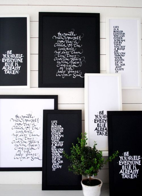 :: QUOTES :: lovely collection for your walls #quotes.    Doing a variation of this for my living room    Nice framing and fonts on these.