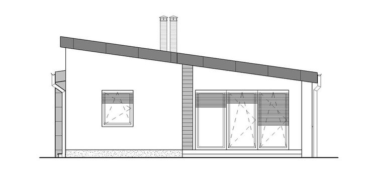 moderny bungalov pohlad z dvora /  ground plan / bungalow / house