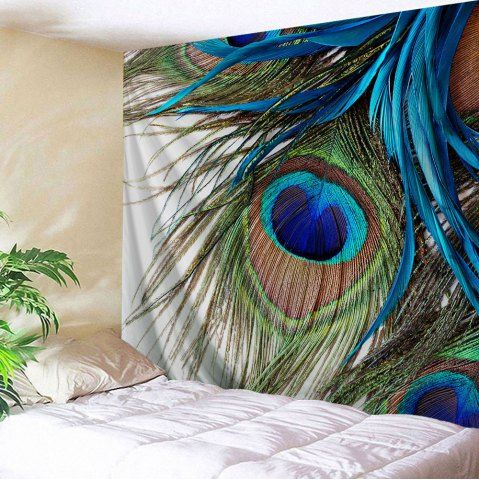 COLORMIX Peacock Feather Wall Art Tapestry Hanger W51 INCH * L59 INCH