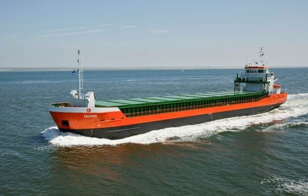 Built by Damen Shipyards Bergum, the Combi Freighter 3850 'Calypso', was delivered to her owners Sadie Shipping in the Netherlands. http://www.damen.nl/news/deliveries/2011/09/cf-3850-calypso