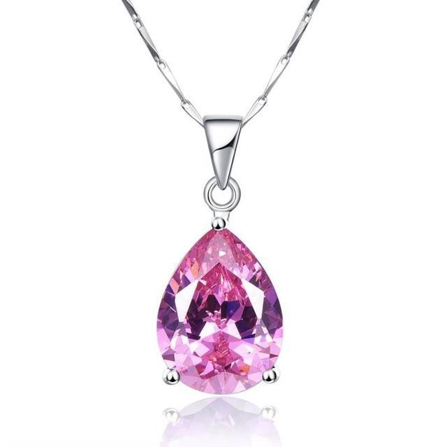 FREE Shipping Today on All Orders ! Water Drop Topaz 925 Sterling Silver Pink Stone Necklace