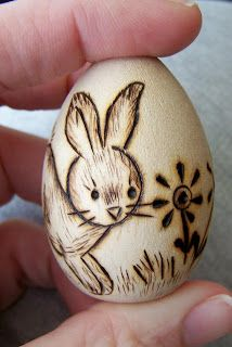Pyrography:   Wood eggs!