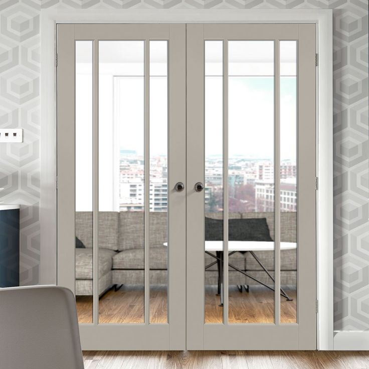 Prefinished Bespoke Worcester Door Pair - Clear Safety Glass - Choose Your Colour - Lifestyle Image.    #doorpair #frenchdoors