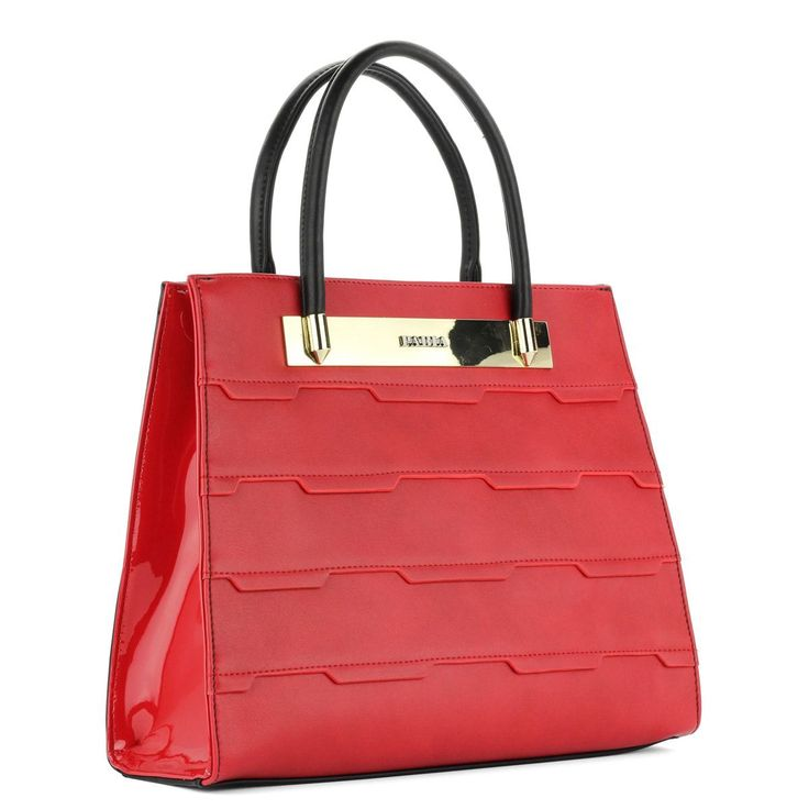 Piros-fekete Pabia táska nagy belső térrel, belsejében cipzáros- és telefonzsebbel. Tartozékként vállpántot küldünk. – ChiX Női Cipő Webáruház  #bags #fashionbags