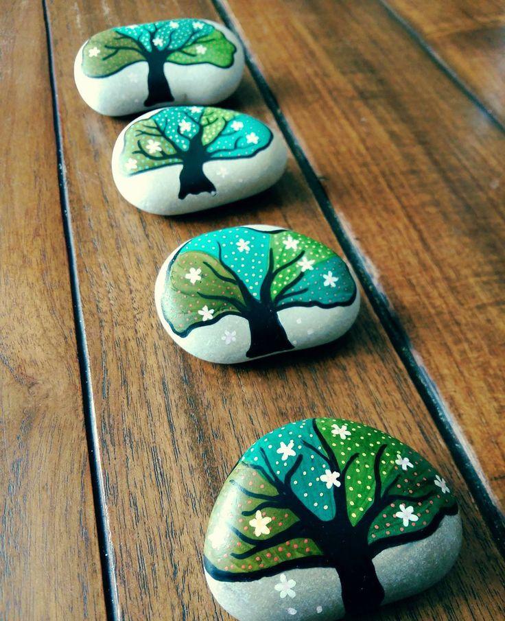 Four trees #stone #painting #beautiful_stones #rock #rockpainting #rockart…