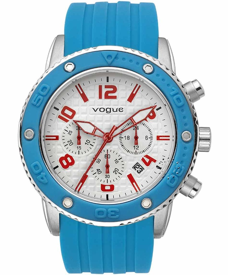 VOGUE Chronograph Blue Rubber Strap  165€  Αγοράστε το εδώ: http://www.oroloi.gr/product_info.php?products_id=31635