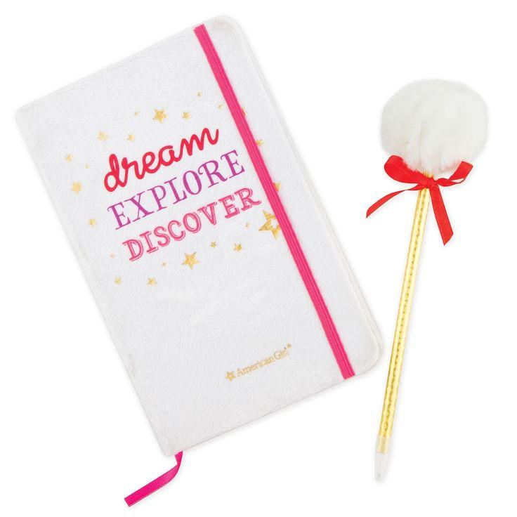 Girls 4-16 American Girl Journal & Pom Pen Gift Set, Multicolor
