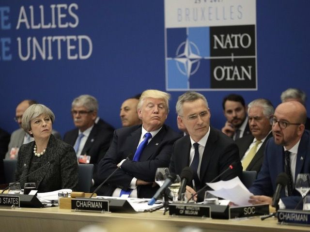 Theresa May, Donald Trump And Jens Stoltenberg Listening To Charles Michel
