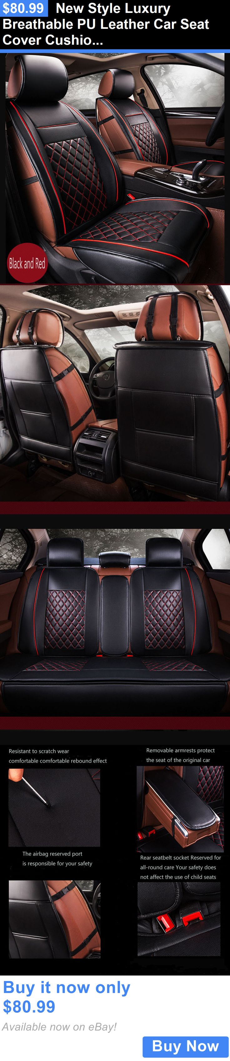 Luxury cars new style luxury breathable pu leather car seat cover cushion pad black red