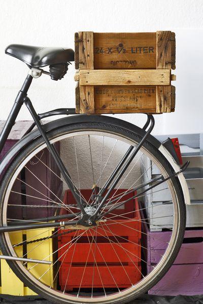 Vintage wine box on bicycle