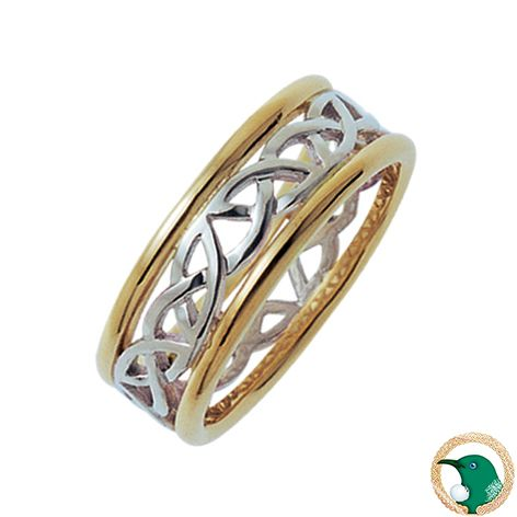 Our ladies 18ct Celtic ring featuring an open looking white gold Celtic weave edged with half round yellow gold rails.