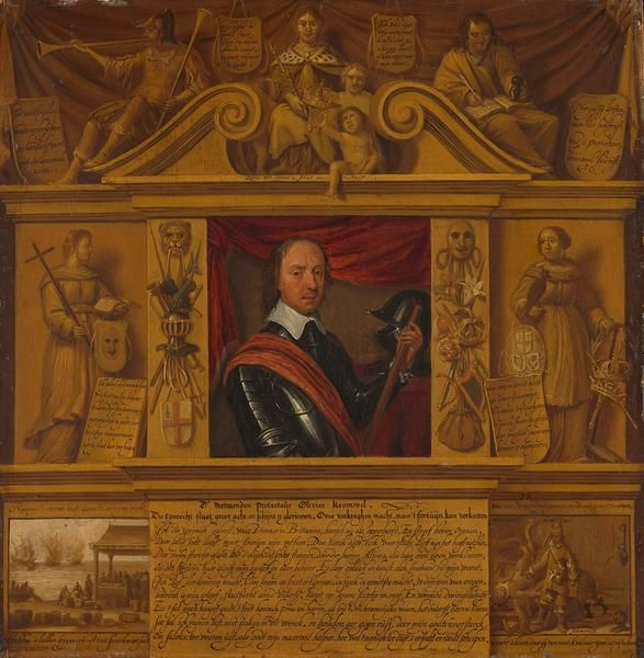 Unknown 1650 Portrait Of Oliver Cromwell In A Frame With Allegorical Art Print Fine Art Reproduction Wall Art Oliver Cromwell
