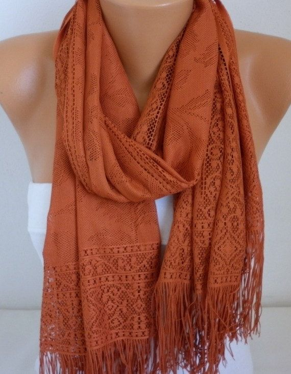 ON SALE  Burnt Orange Tulle  Scarf   Cowl Scarf Shawl by fatwoman, $15.30