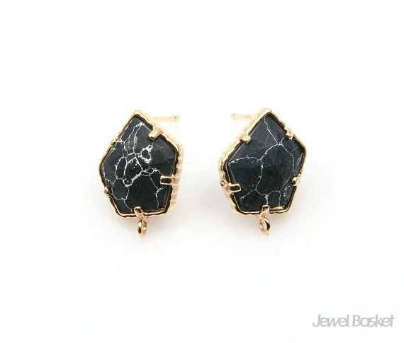 Black Turquoise Earrings will be perfect for your hand making accessories. This listing is for two pieces of Black Turquoise stone Earrings. They are made with gemstone and frame is made of brass. It is 16k gold plating.  - Shiny Gold Frame (Tarnish Resistant) - Black Turquoise Stone - Brass and Glass / 11.0mm x 15.0mm  - 92.5 Silver Ear post - 2pcs / 1pack