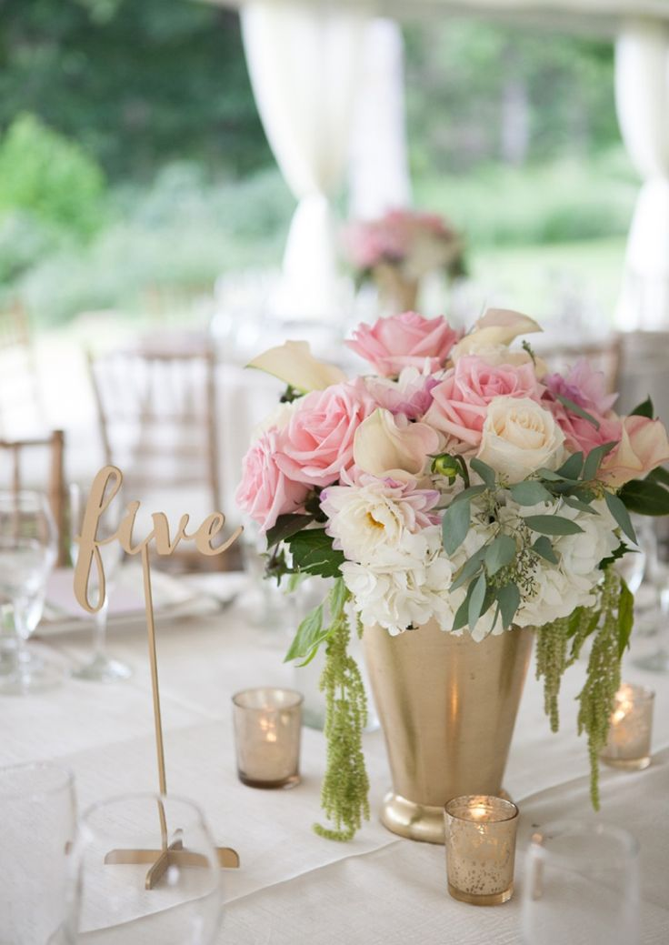 An Elegant Blush and Gold Wedding table numbers