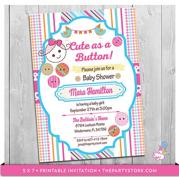 Cute As A Button Baby Shower Invitation By Thepartystork On Etsy