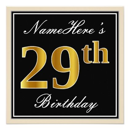 Elegant Black Faux Gold 29th Birthday Name Card - invitations personalize custom special event invitation idea style party card cards
