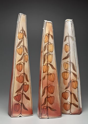 Cathi Jefferson's sculptural vases, Chinese lantern pattern. Cathi Jefferson was featured in the February 2015 issue of Ceramics Monthly. http://ceramicartsdaily.org/ceramics-monthly/ceramics-monthly-february-2015/
