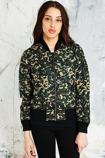 Schott Bomber Jacket in Camo Print - Urban Outfitters