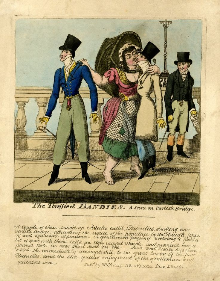 © The Trustees of the British Museum The Terrified Dandies. A scene on Carlisle Bridge. Satire: an ugly poorly dressed woman seizes two elegant dandies and kisses them, having been being paid to do so by an onlooker. c.1820 Hand-coloured etching