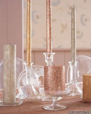 DIY craft  candles glitter by michael