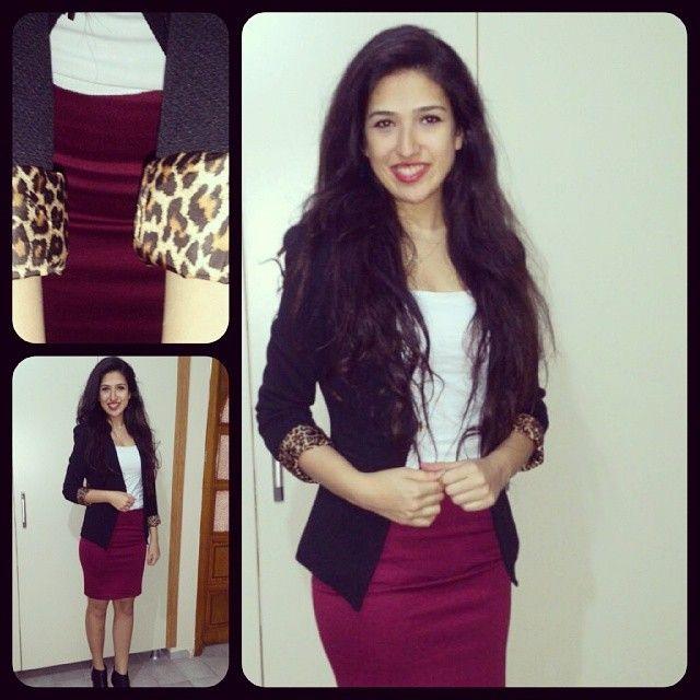 Geçip giden bir staj gününden :) #yesterday #me #combine #fashion  #claret #black #and #white #leopard #details :))