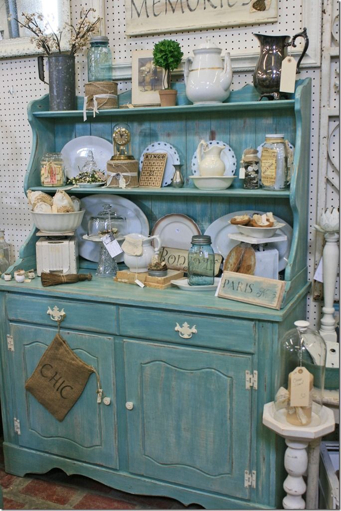 Hutch with vintage collectibles country cottage for Hutch decor