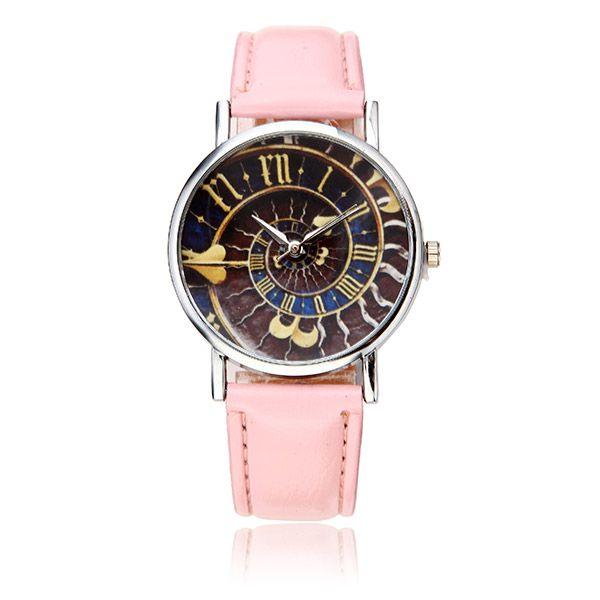 Sale 25% (4.19$) - Casual Women Special Symbols Pattern PU Leather Band Analog Quartz Wrist Watch