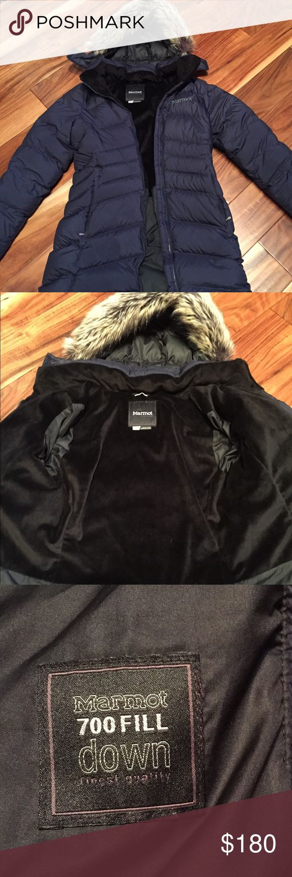 Marmot Montreal in Midnight Navy-like new!! I wore this for just a couple of weeks last season, and decided I need a bigger size. It is in perfect condition! No rips, tears, snags, or stains. Smoke-free home. Will wash before shipping. Will consider reasonable offers! Marmot Jackets & Coats Puffers